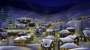 Превью обои ночь, город, снег, рождество, праздник