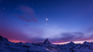 Превью обои ночь, горы, снег, небо, звезды