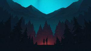Превью обои ночь, лес, горы, звездное небо, силуэты, арт
