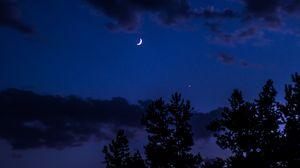 Превью обои ночь, луна, небо, облака, деревья