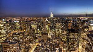 Превью обои ночь, нью, йорк, манхэттен