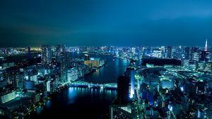 Превью обои ночь, токио, здание, река
