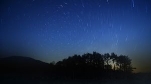 Превью обои ночь, звезды, красиво, трава, деревья