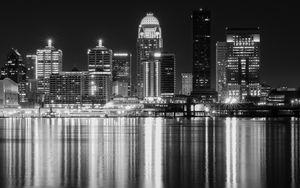 Превью обои ночной город, город, здания, огни, вода, отражение, черно-белый