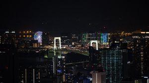 Превью обои ночной город, город, здания, колесо обозрения, вид сверху