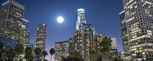 Превью обои ночной город, город, здания, луна, ночь