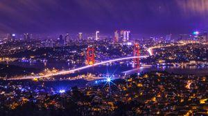 Превью обои ночной город, огни города, мост, вид сверху, турция
