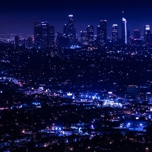 Превью обои ночной город, огни города, обзор, вид сверху