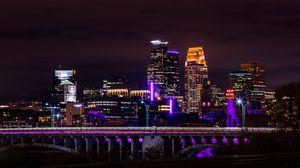 Превью обои ночной город, панорама, архитектура, огни города, миннесота