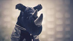Превью обои носорог, игрушка, ткань, чб