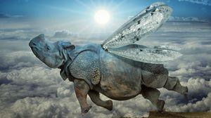 Превью обои носорог, крылья, полёт, облака, икар