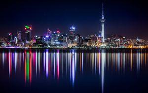 Превью обои новая зеландия, панорама, небоскребы, строения, берег, освещение
