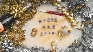 Превью обои новый год, блестки, буквы