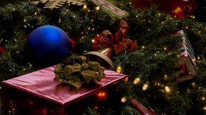 Превью обои новый год, елка, подарки, украшения, гирлянды