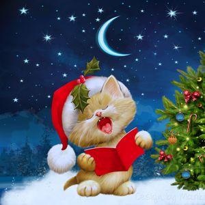 Превью обои новый год, рождество, кот, открытка