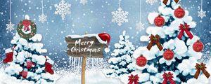 Превью обои новый год, рождество, открытка, елки, снежинки, украшения