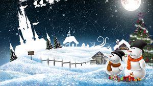 Превью обои новый год, снеговики, ночь, открытка, праздник, рождество