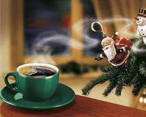 Превью обои новый год, кофе, елка, дед мороз, снеговик, ангел