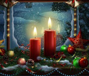 Превью обои новый год, праздник, свечи, открытка, игрушки, звезды, рождество