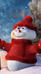 Превью обои новый год, рождество, снеговик, фонарь, елка, снег, улыбка