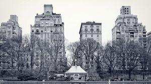 Превью обои нью-йорк, центральный парк, озеро, деревья, здания