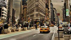 Превью обои нью-йорк, город, здания, улица, автомобили, движение