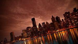 Превью обои нью-йорк, манхэттен, здания, отражения, берег