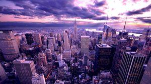Превью обои нью-йорк, небоскребы, вечер