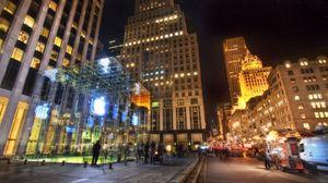 Превью обои нью-йорк, ночь, apple, здания, офисы, hdr