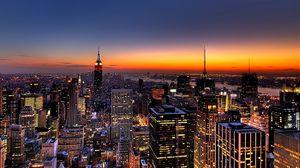Превью обои нью-йорк, ночь, небоскребы, вид сверху