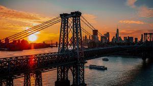 Превью обои нью-йорк, сша, мост, рассвет