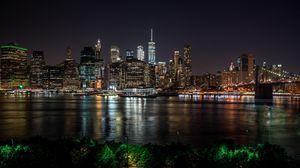 Превью обои нью-йорк, сша, ночной город, панорама, небоскребы