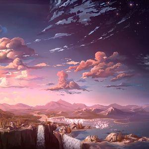 Превью обои облака, горы, арт, водопады, небо