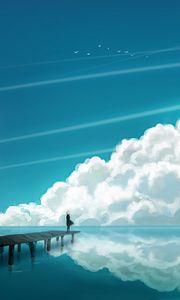 Превью обои облака, небо, мостик, человек, отражение, море