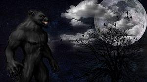 Превью обои оборотень, монстр, оскал, звездное небо, полнолуние, ночь