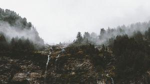 Превью обои обрыв, деревья, туман, ручьи, природа