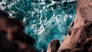 Превью обои обрыв, море, волны, вода, высота