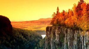 Превью обои обрыв, осень, деревья, природа