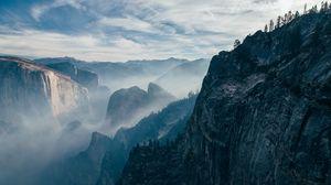 Превью обои обрыв, скала, небо, камни