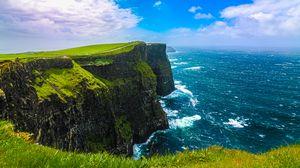 Превью обои обрыв, скала, прибой, море, трава