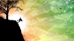 Превью обои обрыв, скейтбордист, силуэт, дерево, солнце, арт