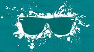 Превью обои очки, брызги, фон, белый, синий, зелёный