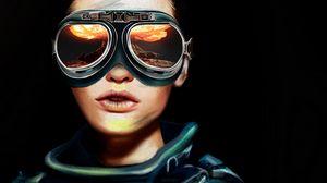 Превью обои очки, портрет, авиатор, отражение