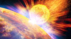 Превью обои огонь, метеорит, апокалипсис, планета, земля, космос