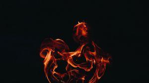 Превью обои огонь, пламя, темный фон