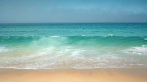 Превью обои океан, берег, горизонт, волны