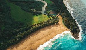 Превью обои океан, пляж, вид сверху, кауаи, гавайи