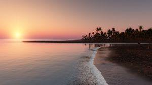 Превью обои океан, тропики, пальмы, побережье, закат, небо