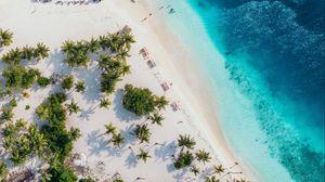 Превью обои океан, вид сверху, побережье, пальмы, песок