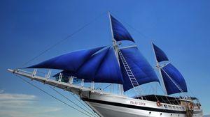 Превью обои океан, яхта, паруса, путешествие, отдых